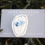 Jane Mathers Floral Embroidered Brooch